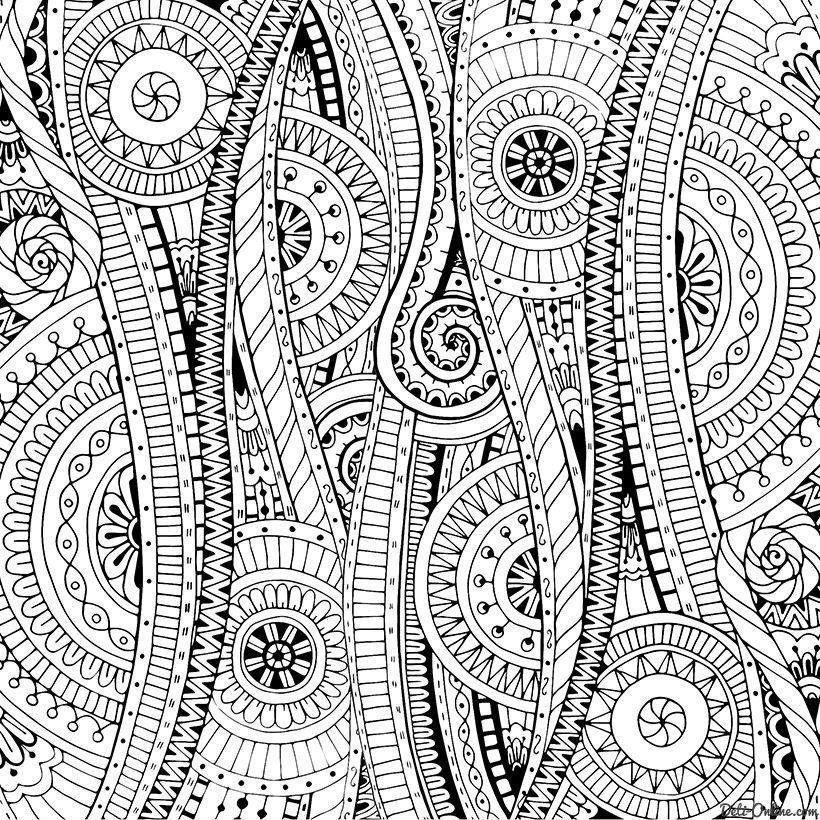 Раскраска Антистресс Дудлы с цветами и орнаментом ...