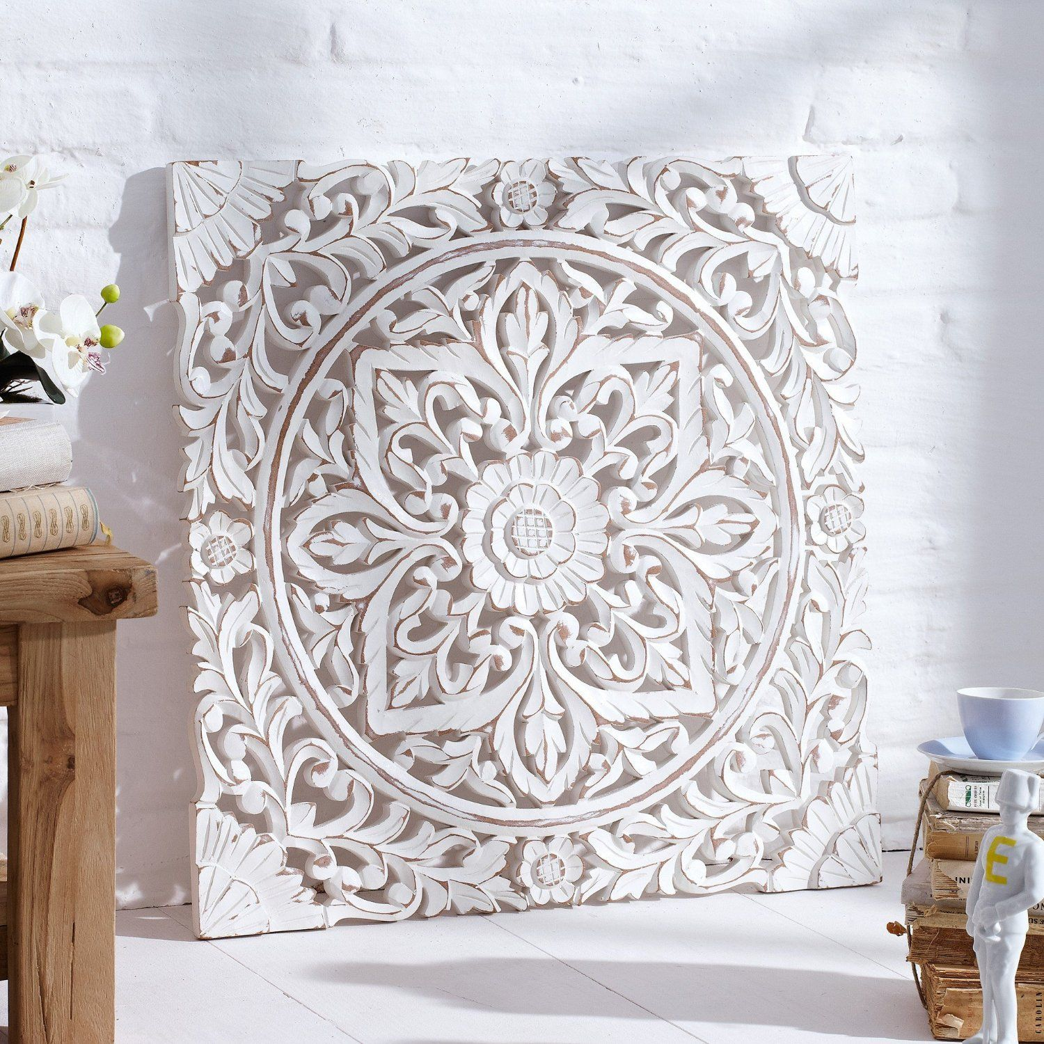 Carved Wooden Wall Panel Distressed White Amazon Co Uk Kitchen Home White Wood Wall Decor Carved Wood Wall Art Carved Wall Art