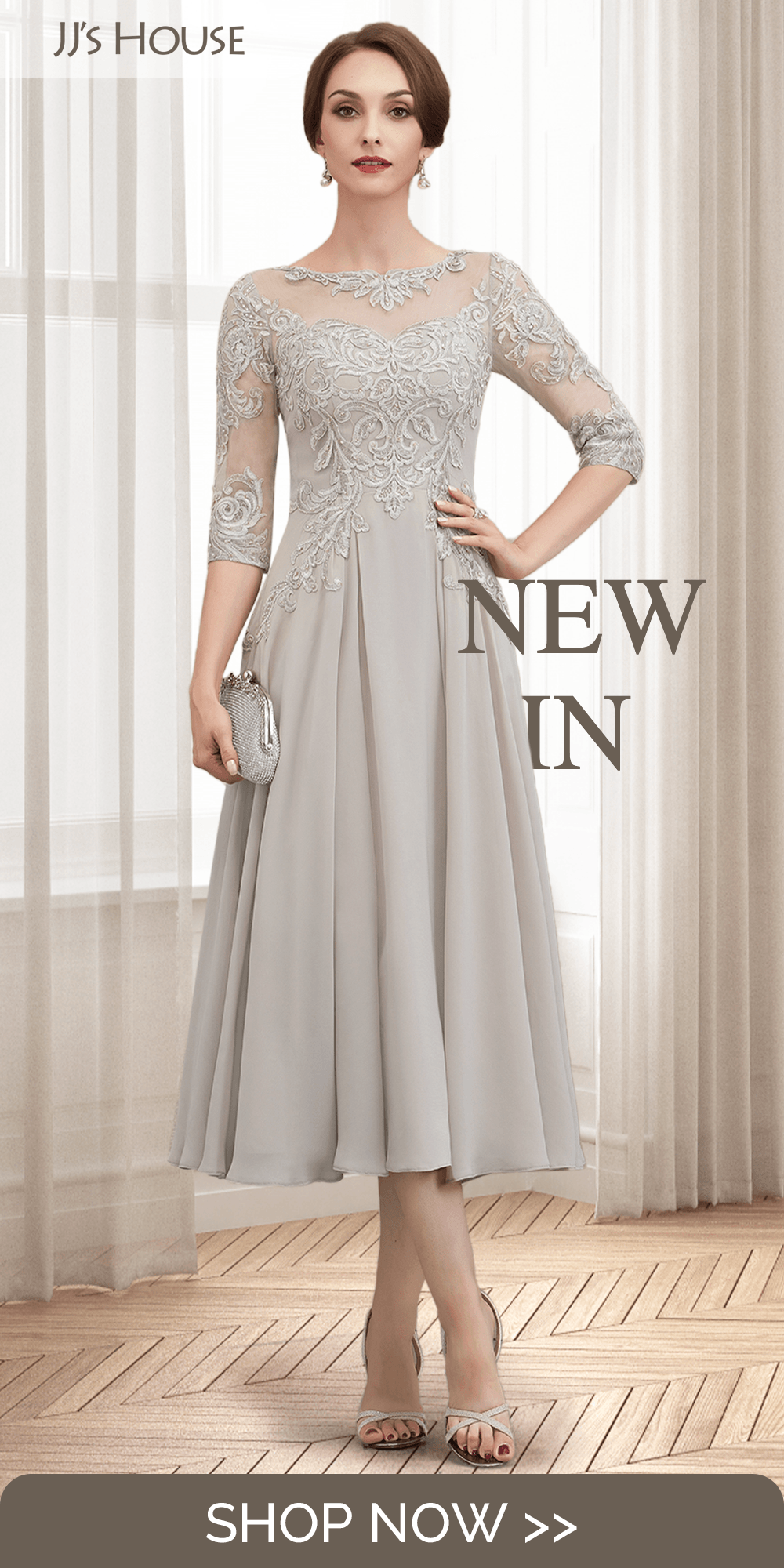 NEW INA-Line Tea-Length Chiffon Lace Mother of the Bride Dress With Beading Sequins