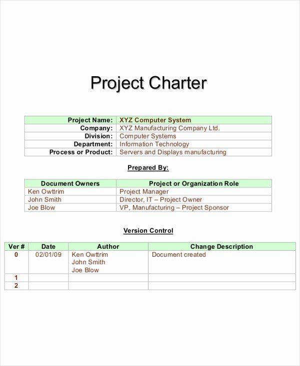 Pmbok Project Charter Template Inspirational Project