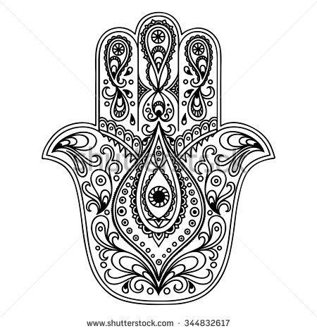Vector Hamsa Hand Drawn Symbol Stock Vector כתובה