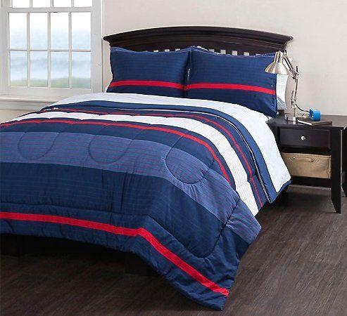 Boys Striped Queen Comforter Set  7 Piece Bedding Set  Blue Red White boys  bedding. Boys Striped Queen Comforter Set  7 Piece Bedding Set  Blue Red