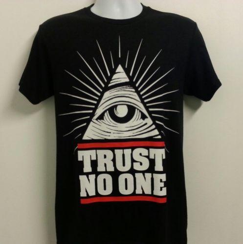 Trust No One Pyramid Eye Illuminati New Men's Black T-Shirt Dope Swag