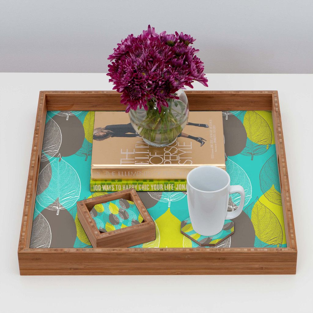 Aimee St Hill Big Leaves Blue Coaster Set | DENY Designs Home Accessories #DENYholiday #Christmasgifts #forher