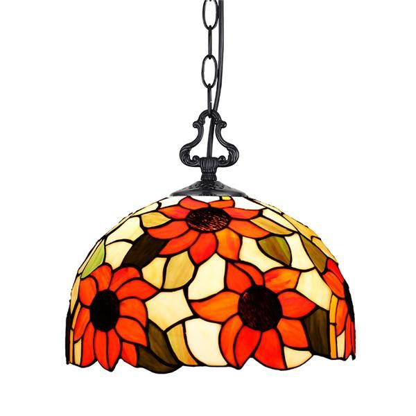 European Arts Sunflower Stained Glass Chandelier Pl548 Stained Glass Chandelier Pendant Lamp
