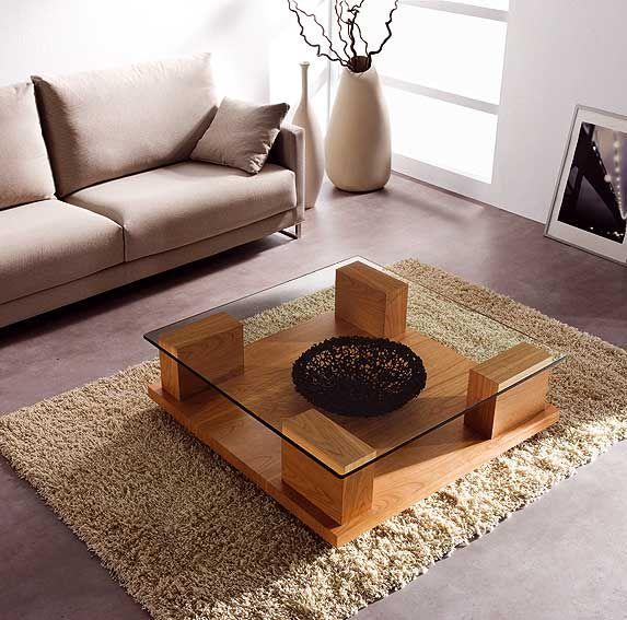 Mesa de centro cristal cuadrada dulia salones sofa for Mesas cuadradas para comedor