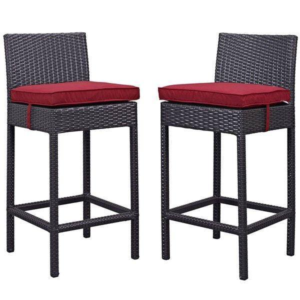 2 Lift Espresso Red Fabric Pe Rattan Outdoor Patio Bar Stools