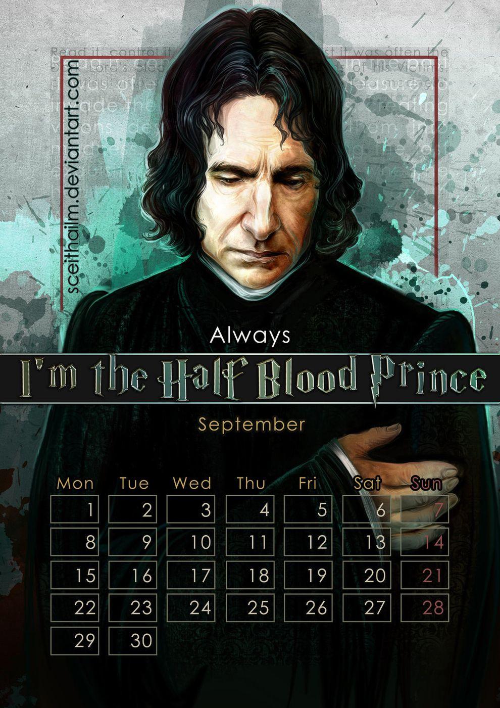 September Alan Rickman As Severus Snape In The Harry Potter Movies Filme Pinnwand Filme Serien