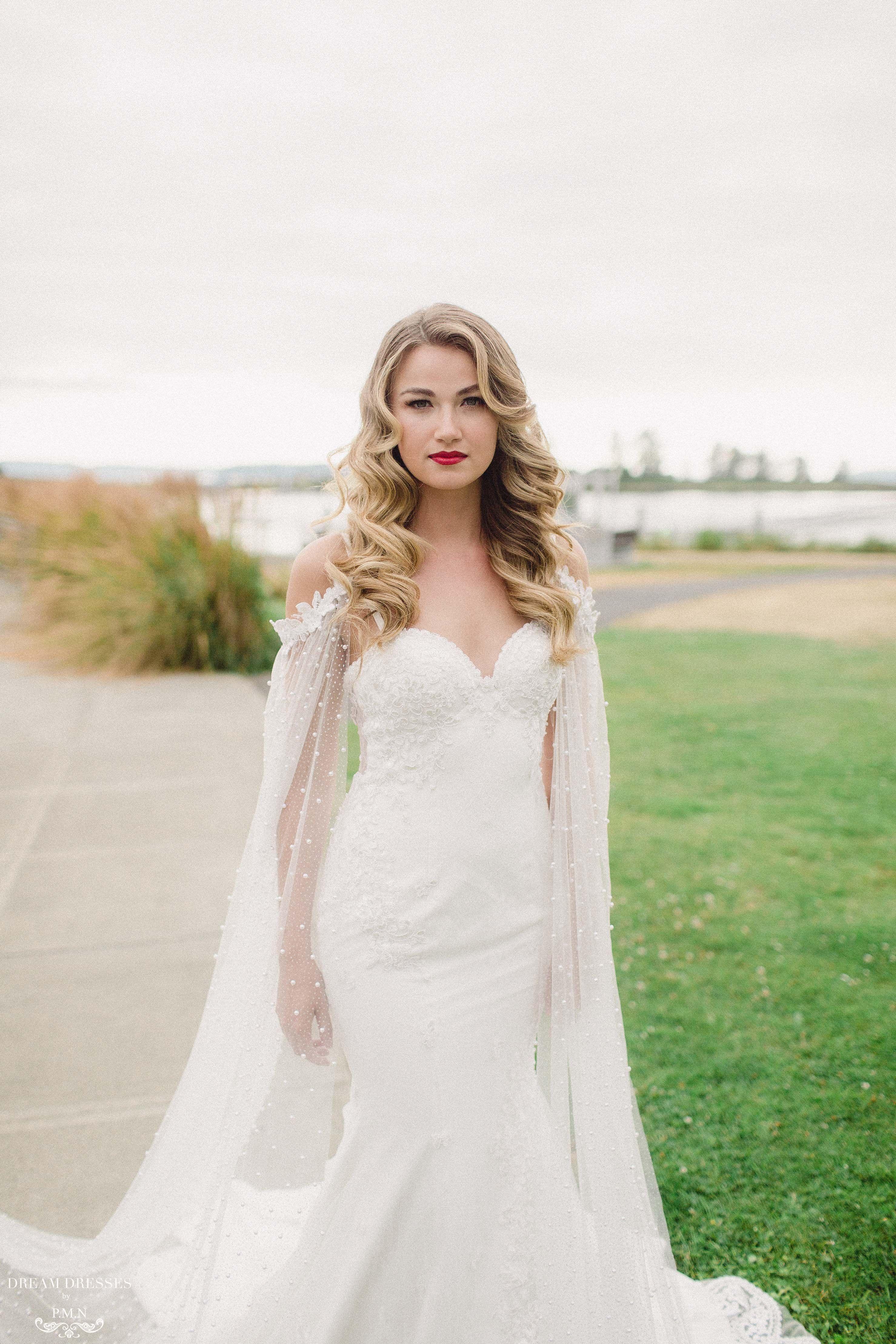 Detachable Bridal Sleeve Cape (ELAINA) Wedding dresses
