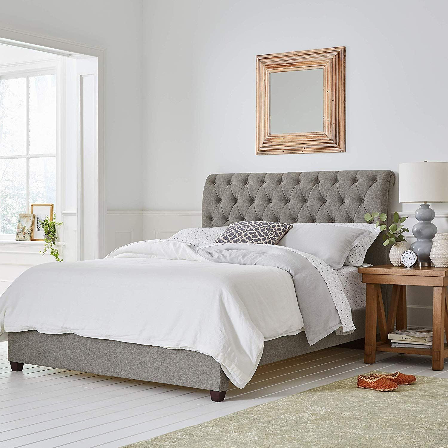 Grey Patterns And Tufted Headboard Make The Perfect Combo Citrine