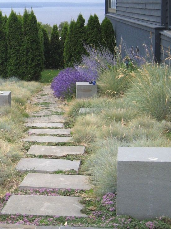 Betonsteine Trittstein-Ideen Gartenweg-gestalten garten - gartenwege aus holz anlegen