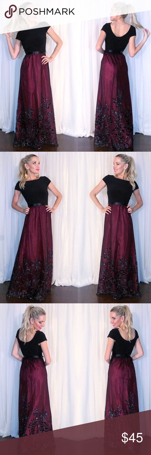 Burgundy sparkly black lace classy evening gown boutique my posh