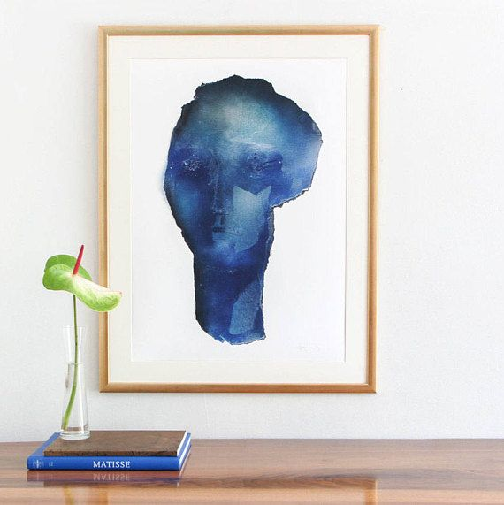 Große Blaue Wand Kunstdruck Von Original Abstrakte Malerei