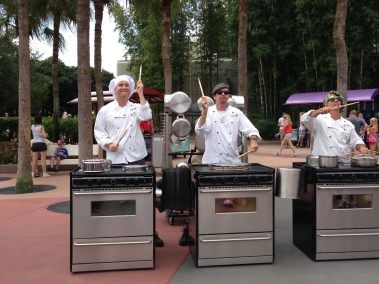 Enjoying the musical talents of the Kitchenators while sharing 10 ways to save  money at the Epcot International Food and Wine Festival 2016