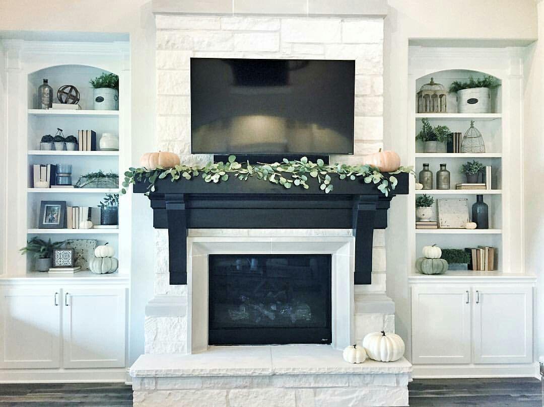 Black Mantle White Brick Fireplace White Fireplace Home Fireplace
