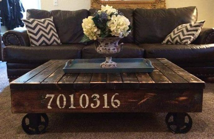 Industrial Rustic Rail Cart Coffee Table Farmhouse Style