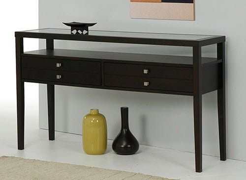 Brown Accent Sofa Console Table With 2 Large Storage Drawer Made Of Rubber Wood With Glass Top That Will Accentua Console Table Modern Console Tables Furniture