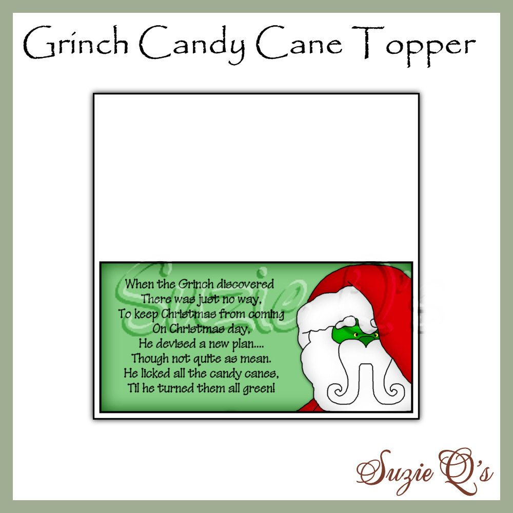 Grinch Candy Cane Toppers Digital Printables by ...