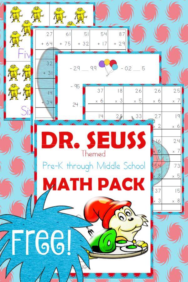 Free Dr. Seuss Math Pack (PreKMiddle School Dr seuss