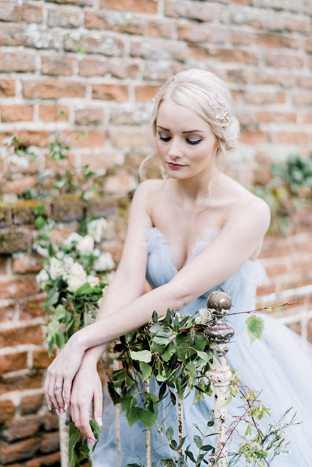 Romantic floral bridal inspiration with blue tulle gown by kathryn