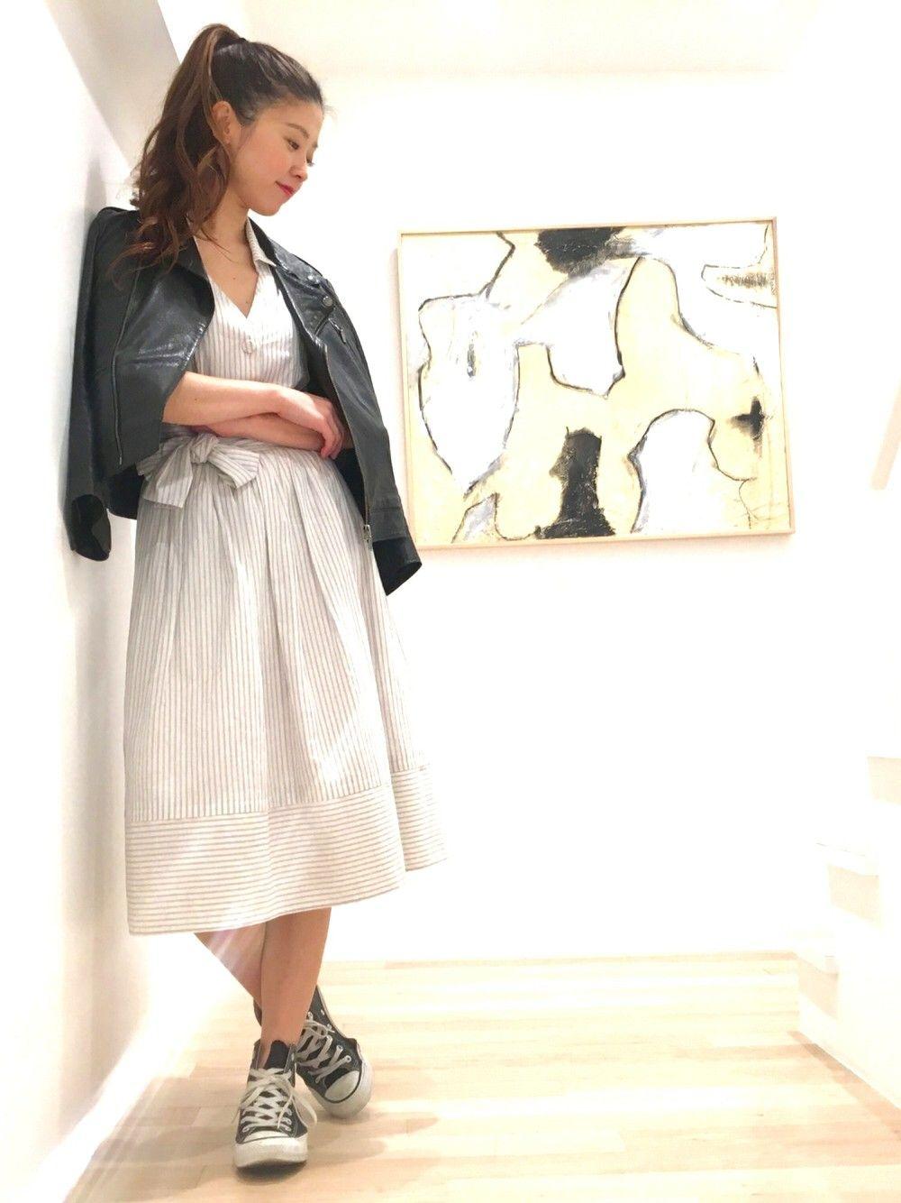 cacchiさんのシャツワンピース「JILLSTUART ストライプシャツドレス」を使ったコーディネート