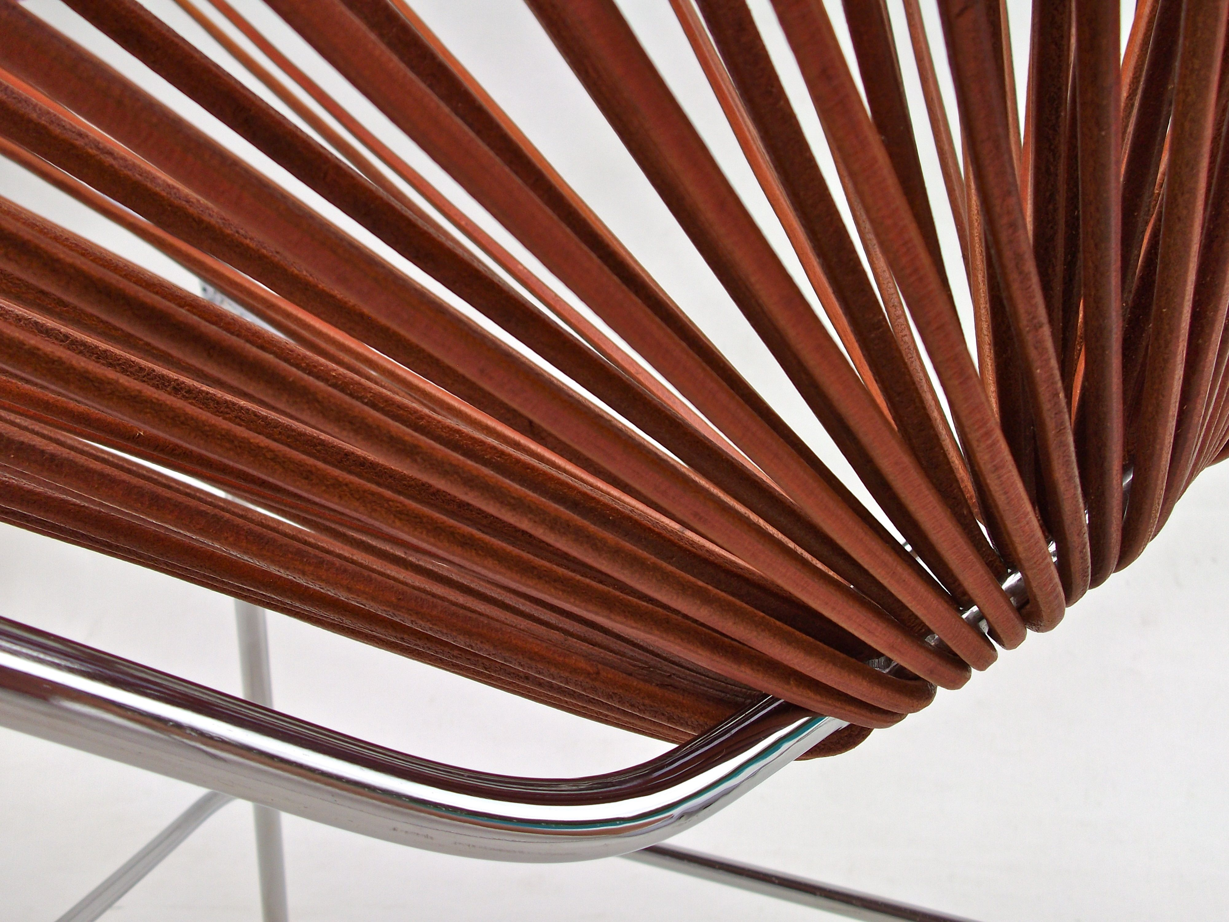 Acapulco chair vintage - A Close Up Of The Leather Acapulco Chair By Ocho Workshop Rich Leather Grains Wrap