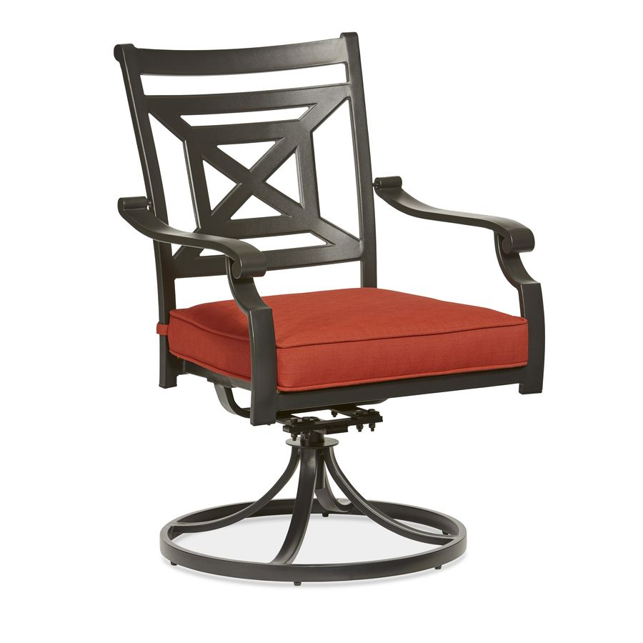 Rocker Outdoor Chairs Card Tables And Allen Roth Kingsmead 2 Count Black Steel Stackable Swivel Patio Dining With Red Cushions
