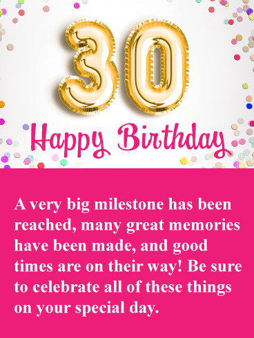 Great Memories Happy 30th Birthday Card Birthday Greeting Cards By Davia 30th Birthday Cards Happy 30th Birthday Happy 30th Birthday Wishes