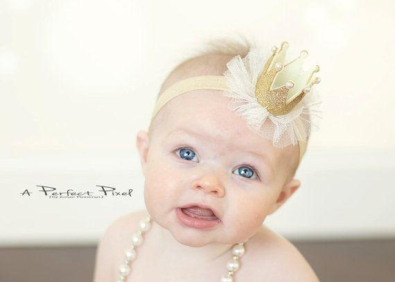 Gold Baby Stirnband-Krone crown Stirnband  Baby von PoshPeanutKids #crownheadband