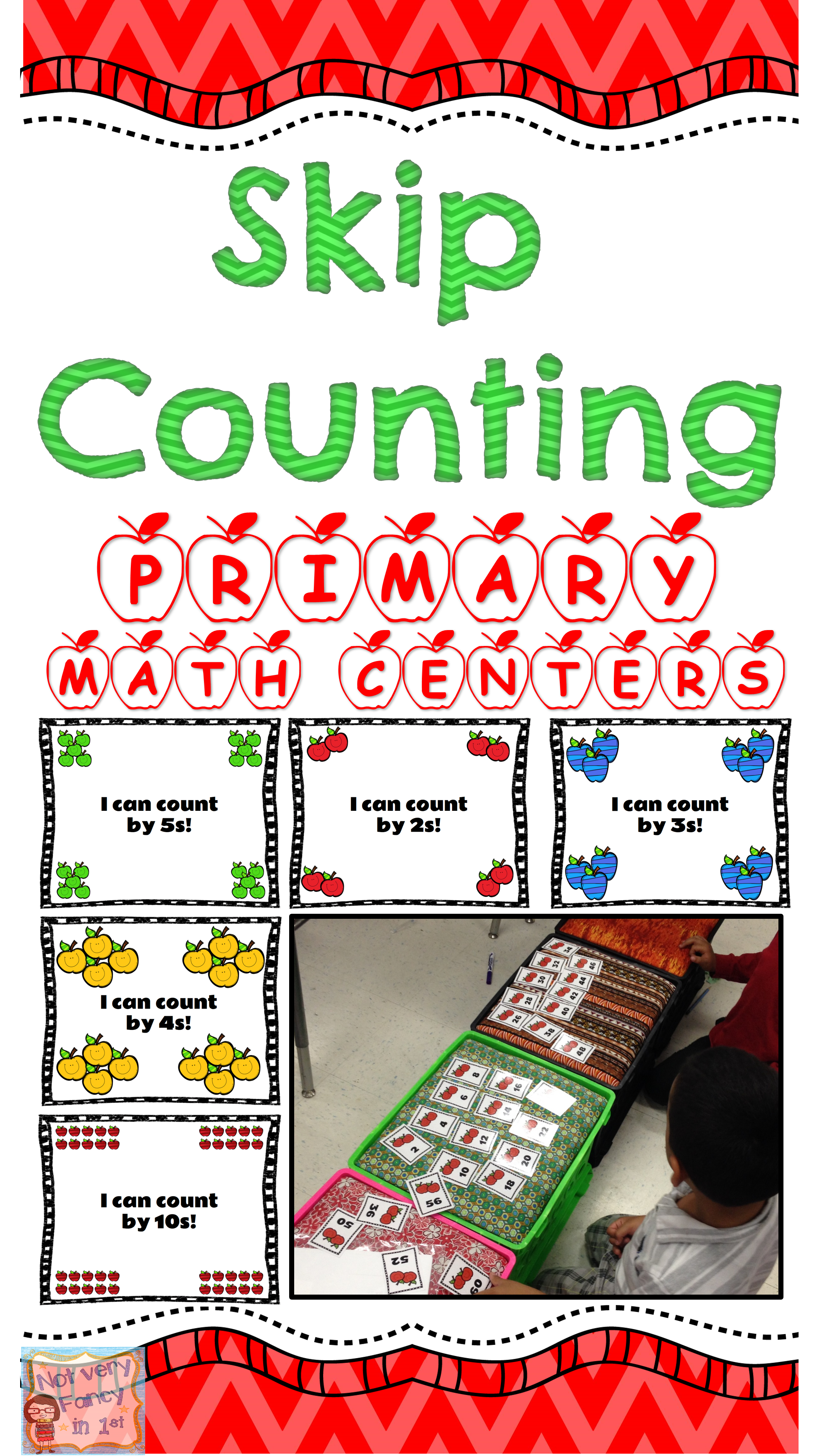 Apple Themed Skip Counting Primary Math Center With