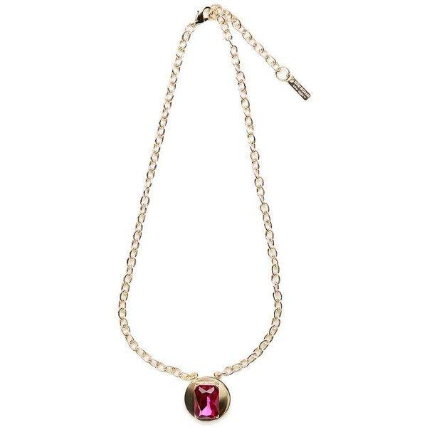 Isaac Mizrahi Fuchsia Gemstone Gold Disc Necklace 799 liked
