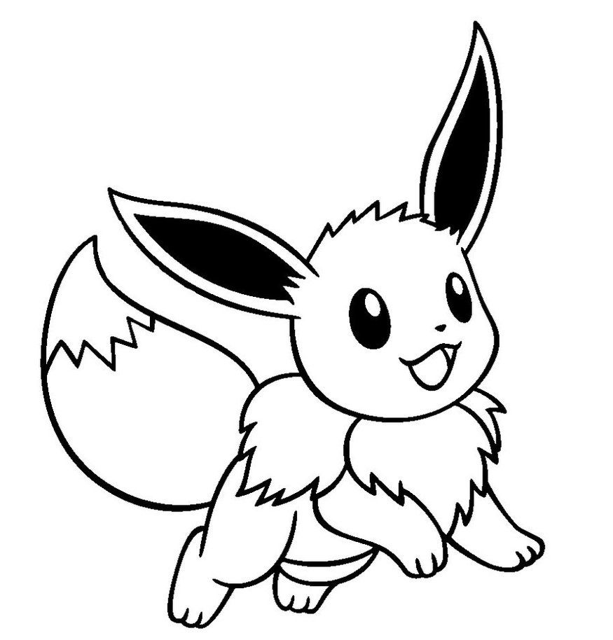 Eevee and pikachu coloring pages - Cute Pokemon Eevee Drawings Sketch Coloring Page
