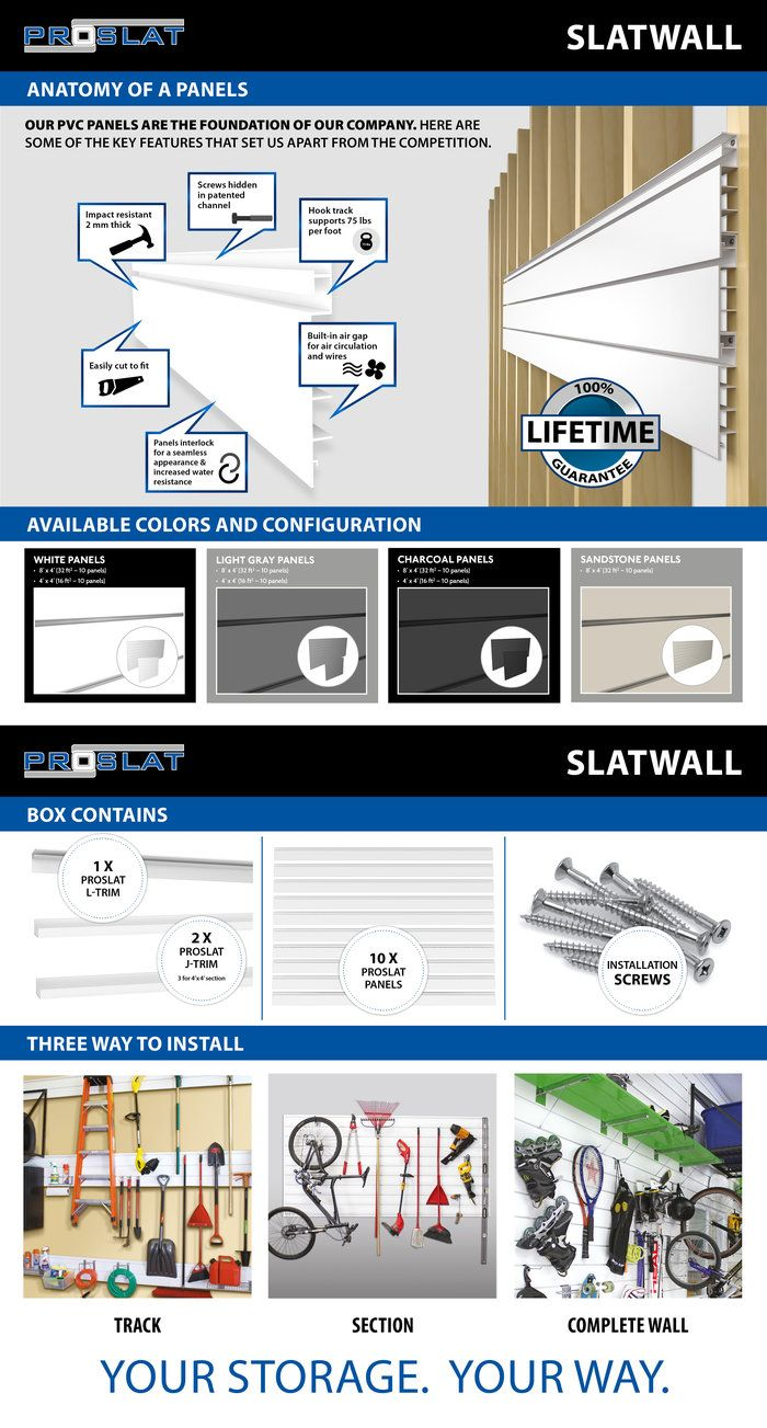 Proslat Pvc Slatwall 4 Ft X 4 Ft White 88103 The Home Depot Slat Wall White Wall Paneling Wall Paneling