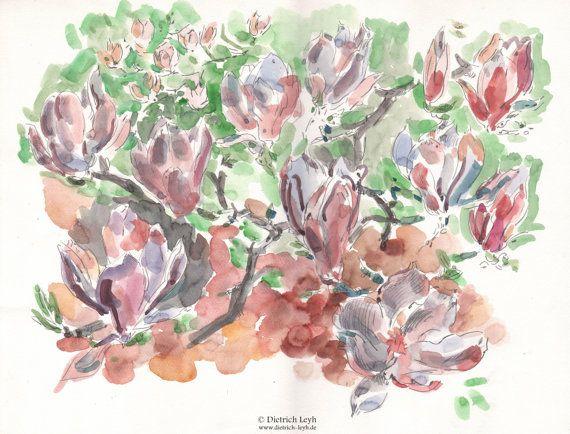 Magnolias in Pink Grey von Kunstwelt auf Etsy, €320.00