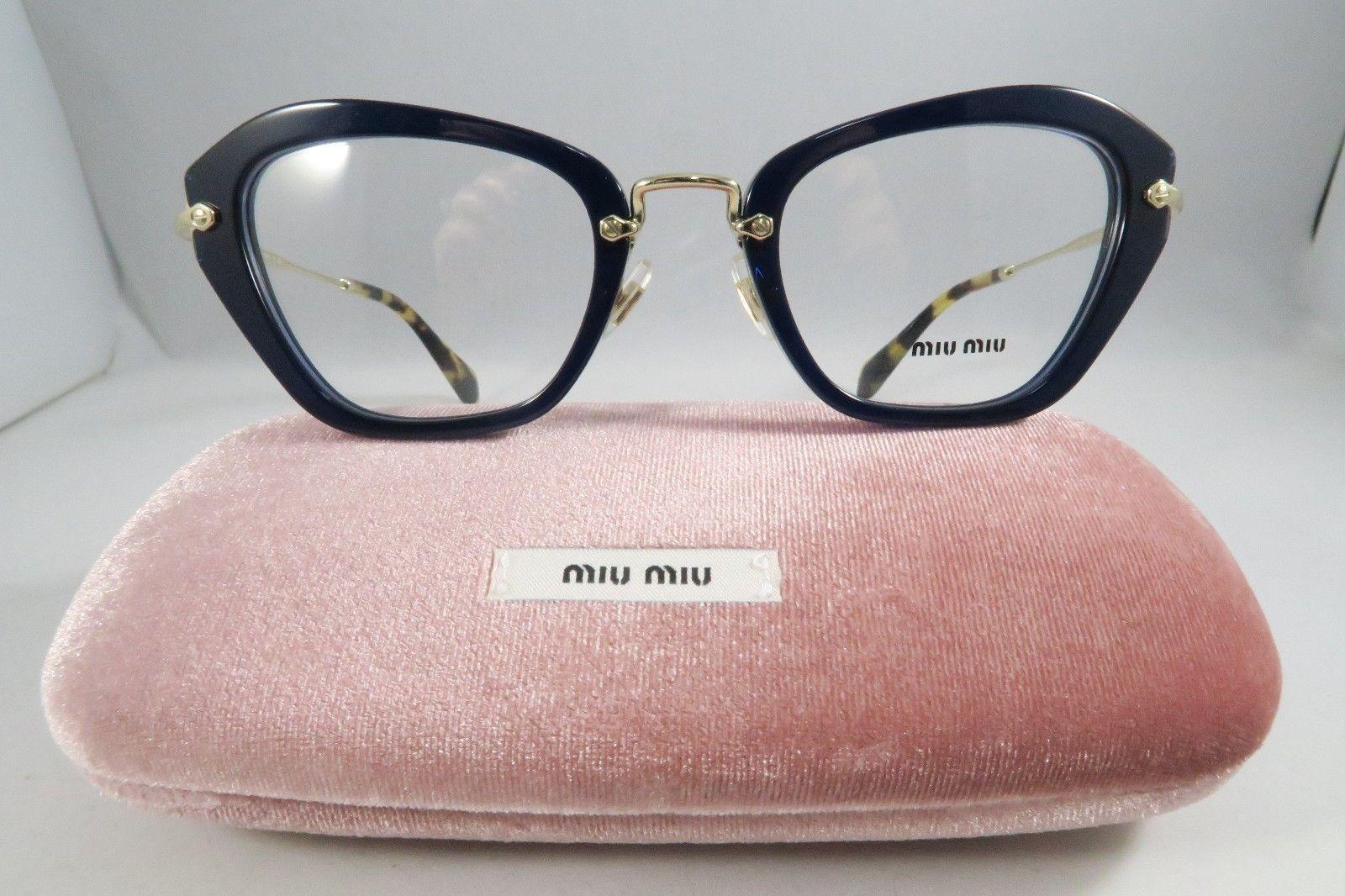 23f8c780204f MIU MIU VMU 05N 0AX 1O1 Blue Gold New Women Eyeglasses 52mm 24mm 140mm w  Case