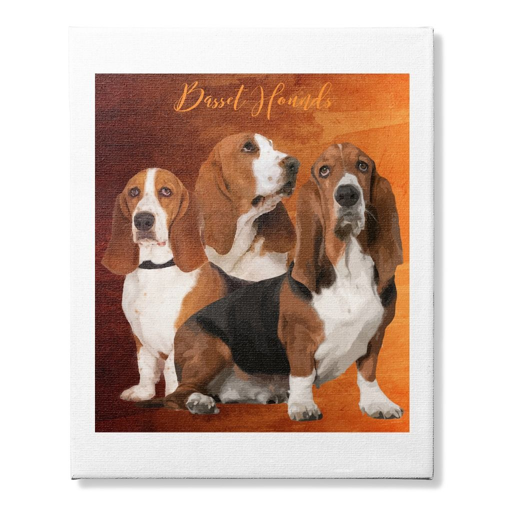 Basset Hounds Canvas - Beautiful canvas Basset Hound print made for ...