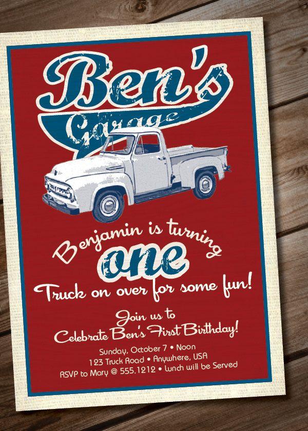 DIY Printable Vintage Truck Birthday Party Invitation or Baby Shower ...