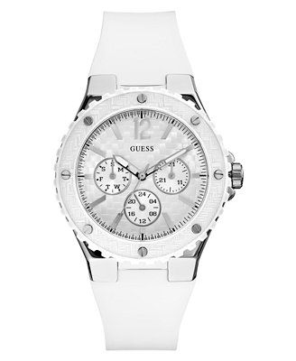 89e408060cf17 GUESS Watch, Women s White Silicone Strap 40mm U10657L1   watches ...