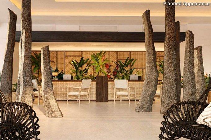 image result for tropical hotel reception design