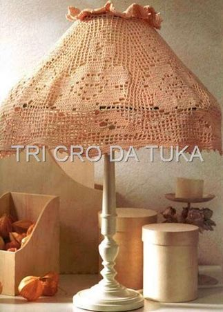 """""""Rosy Glow"""" lampshade  with diagram, filet work"""