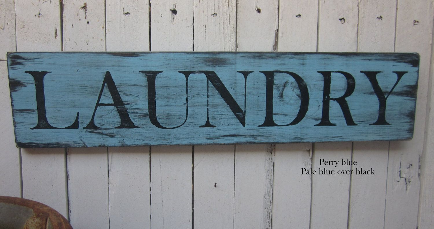 Wooden Laundry Signs For Home Laundry Room Wooden Sign Home Decor Distressed And Rustic  Blue