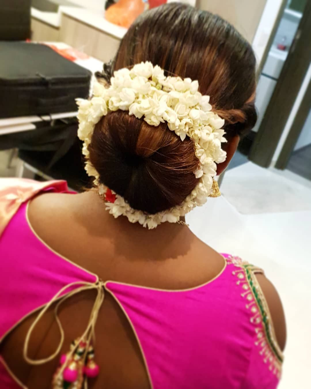 The Classic Bun With My Absolute Favourite Jasmine Flowers Get In Touch With Me 9 Big Bun Hair Pretty Hairstyles Bun Hairstyles