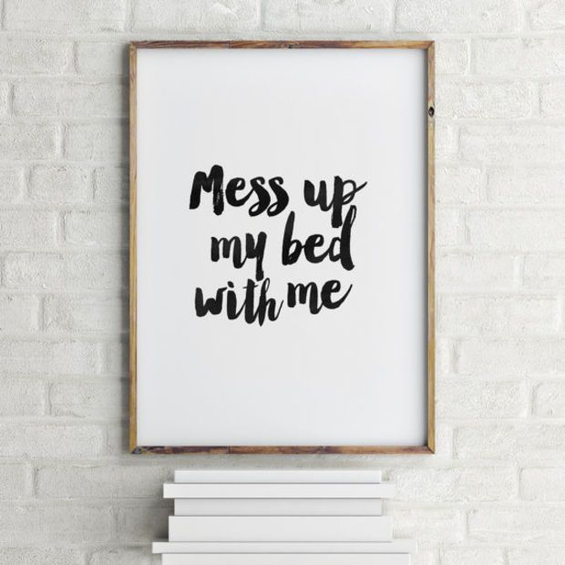 photo relating to Printable Room Decor referred to as PRINTABLE Artwork, Mess Up My Mattress With Me,Bed room Decor,Area