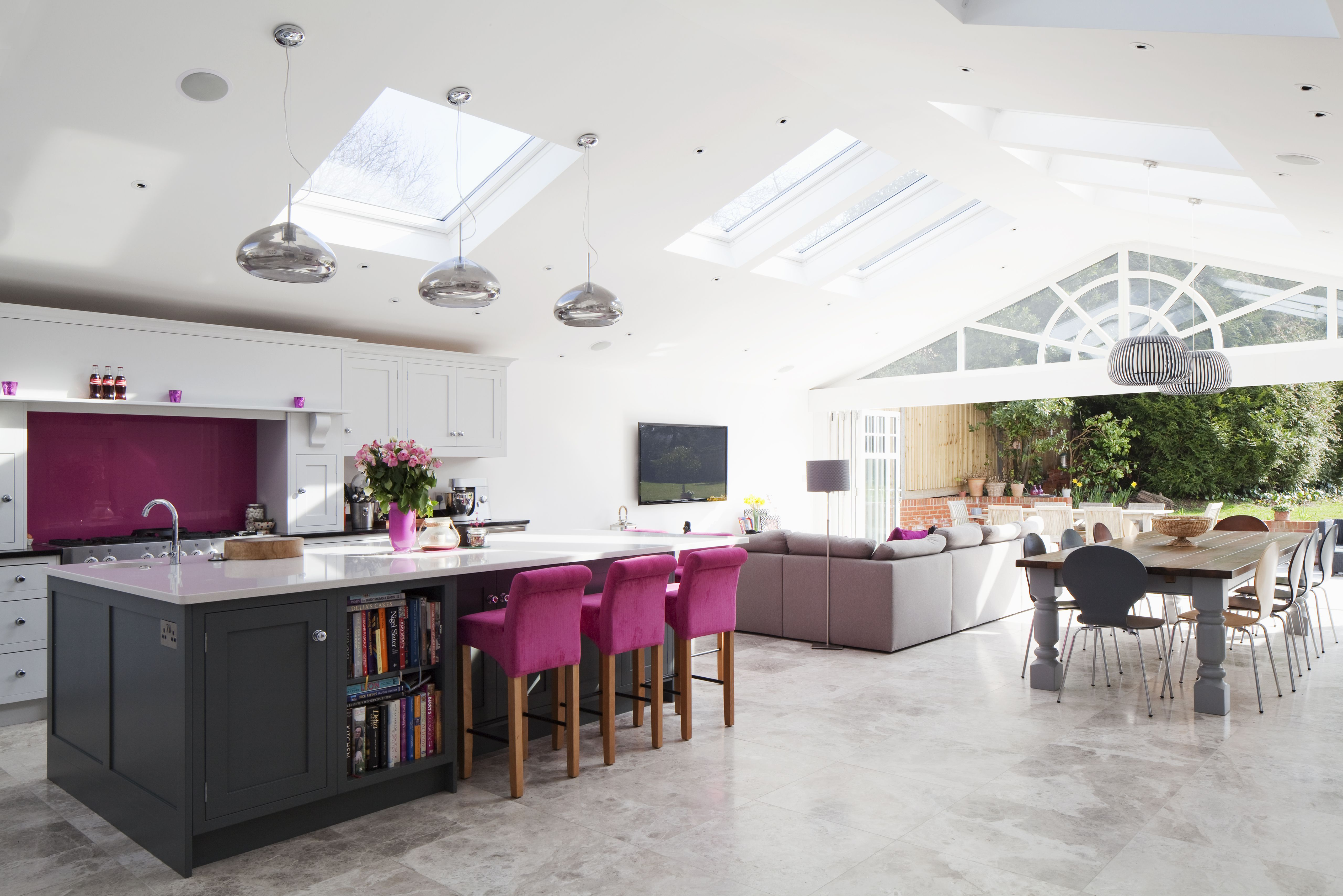 Room Ideas · Rear Extension | Open Plan Living | Large Kitchen Island With  Breakfast Bar | Vaulted Ceiling