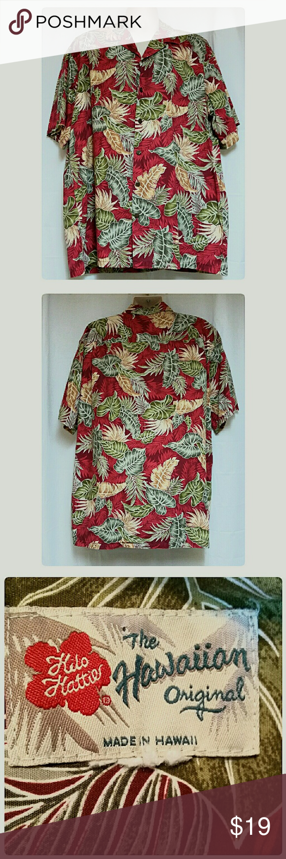 34d3e44b Men's Hilo Hattie Red Hawaiian Shirt Monstera Leaf Item PMTC-0077. This is a