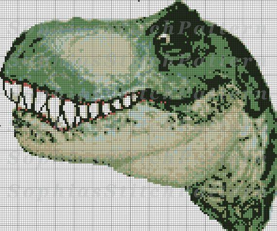 791a4393ec9 Dinosaur Cross Stitch Pattern T-Rex Cross by SophiasStitchPattern ...