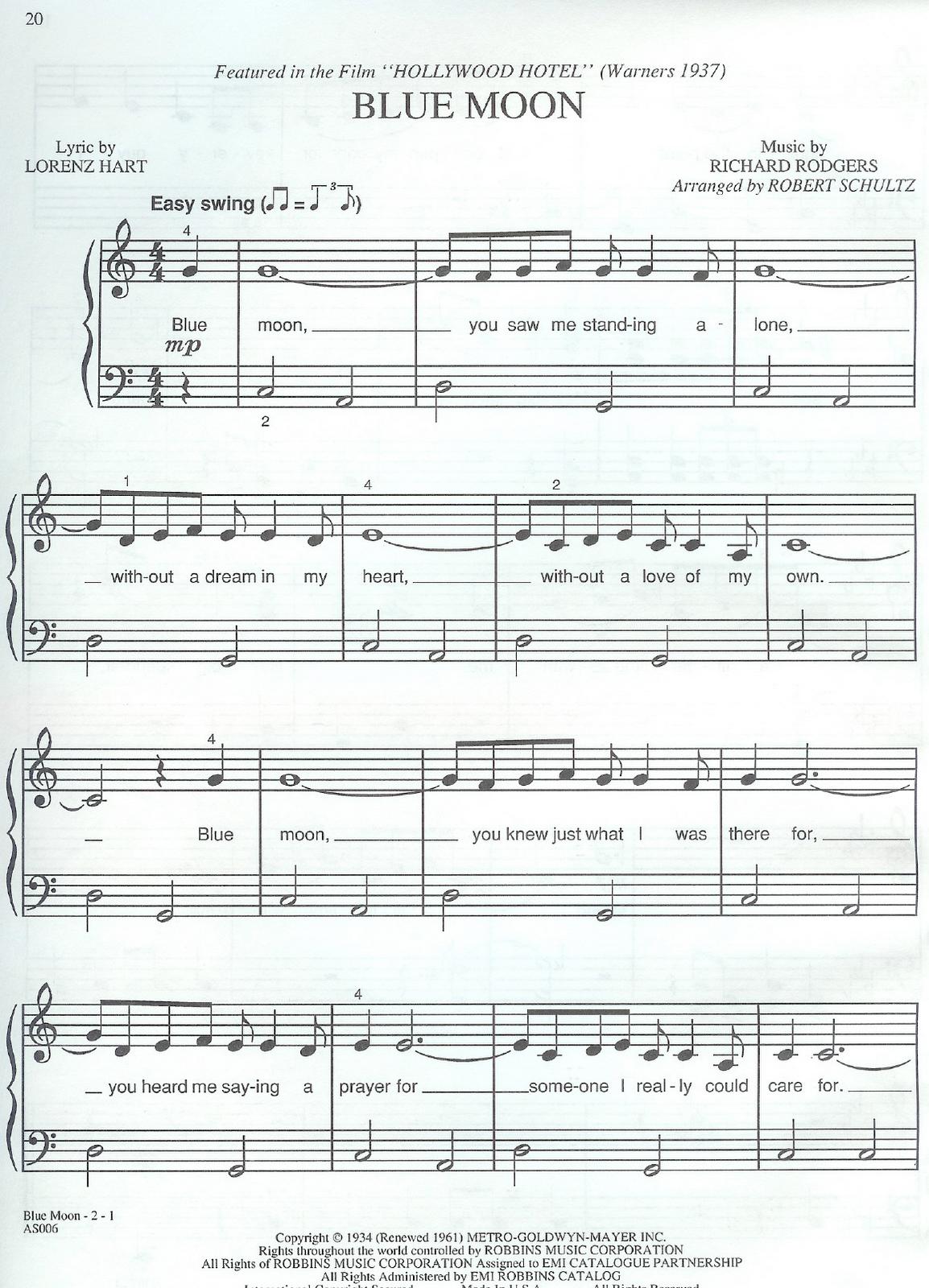 Partituras De Blue Moon Partitura Para Piano Gratis Del Tema Hollywood Hotel Si Necesitas Alguna Solo Pedila Que Pianoclasses