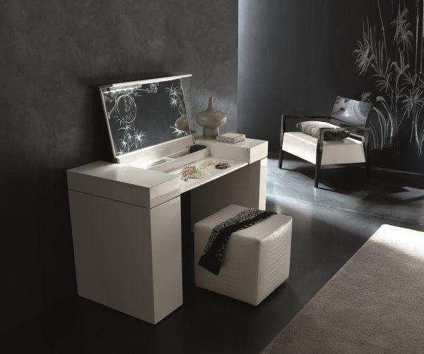 Mobile toeletta moderno Windsor con inserti in ecopelle effetto - meuble coiffeuse avec miroir pas cher