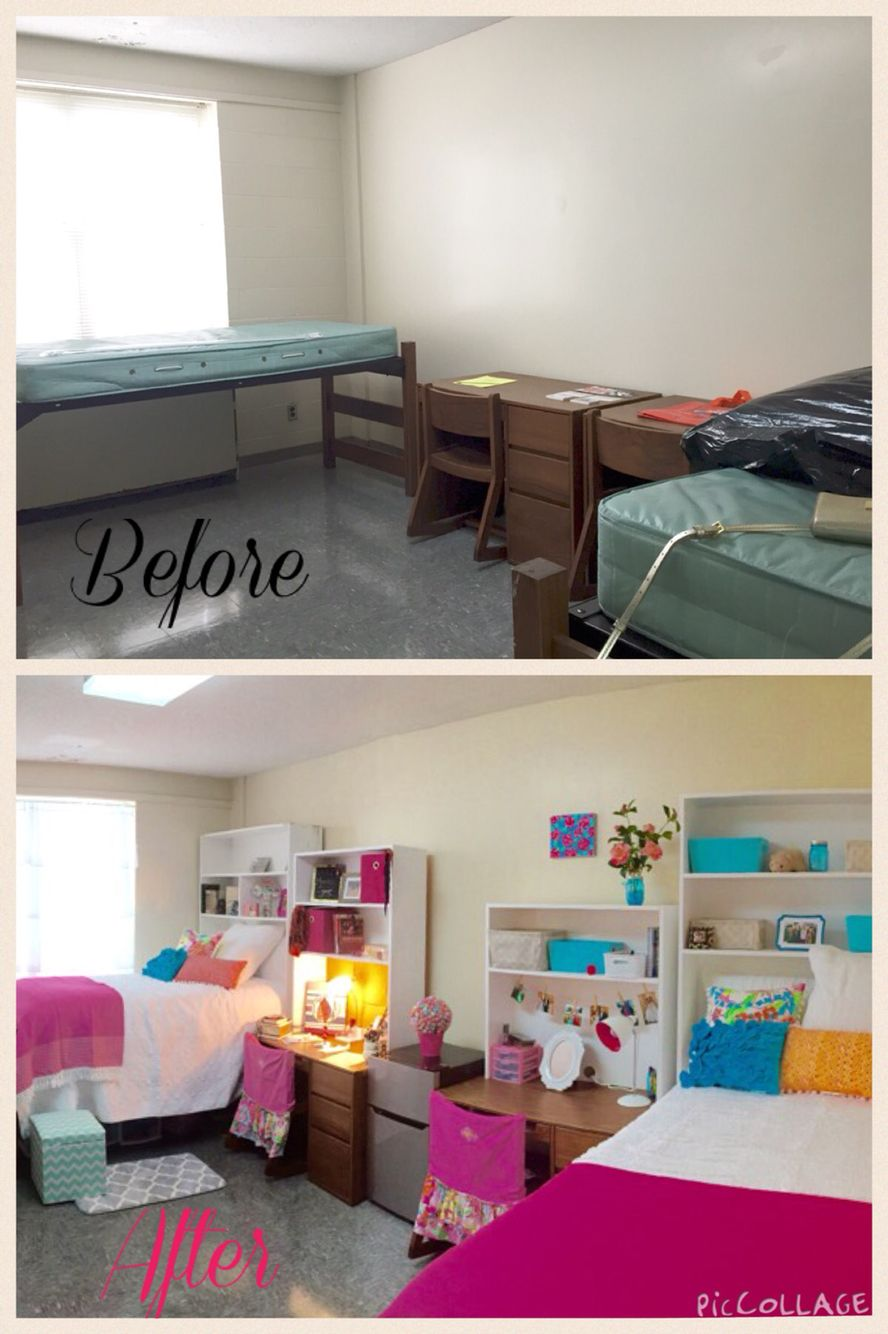 Auburn University Dorm Before And After Idea Have A Normal Bookshelf But With The Bottom Shelved Out Allowing A Bed To Sit Inside