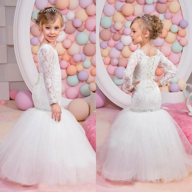 9cc6cef37 Sexy Mermaid Lace Flower Girls Dresses With Long Sleeves Junior Bridesmaid  Dress Tulle Sequins Jewel Kids Birthday Party Gowns For Weddings Infant  Flower ...